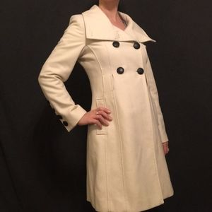 Guess Ivory Double Breasted Skirted Trench Coat